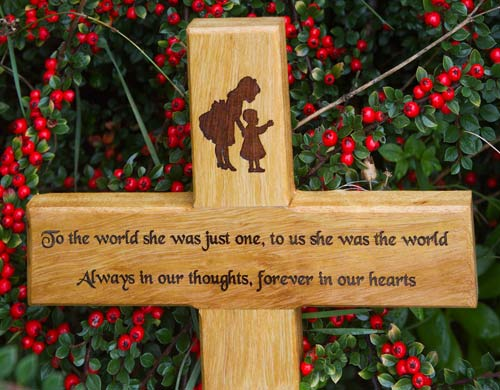 Wooden Memorial Crosses With Text Engraved Oak